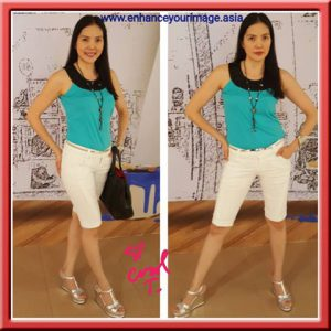 Jewel Neckline Blouse & Pedal Pusher Jeans