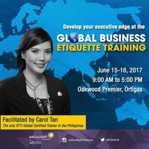 GLOBAL BUSINESS ETIQUETTE TRAINING W INT'L. CERTIFICATION